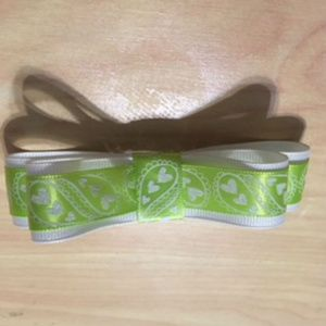 Other - Lime Green and White Ribbon Hair Bow